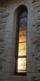 Clairvaux west facade stain glass windows in morning light (9)
