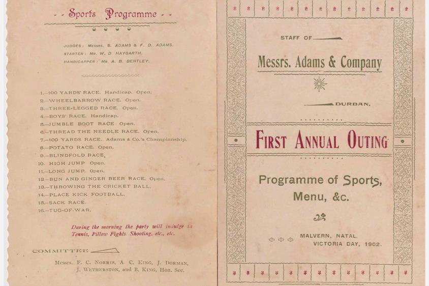 The programme of events at the company's first Annual Outing in 1902