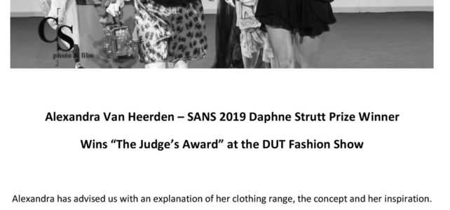 SA National Society 2019 Daphne Strutt Winner – takes another Award at the DUT Fashion Show.