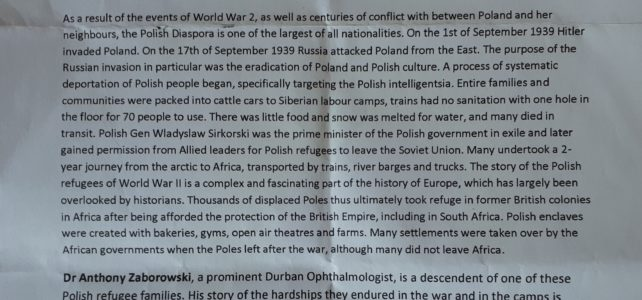 Ken Gillings Memorial Lecture by Dr Anthony Zoborowski – The Polish Africans of WWII.