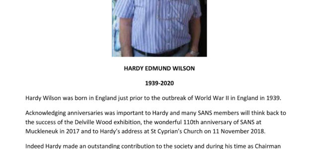 We Remember past Chairman – Hardy Wilson 1939- 2020 (R.I.P.)