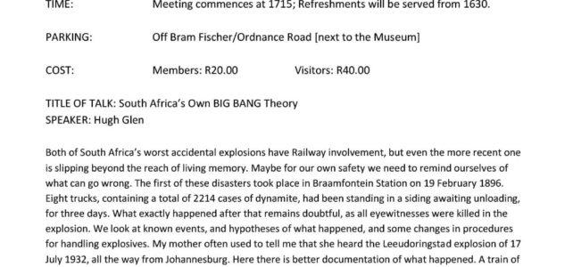 SA National Society – Meeting 14/01/2020