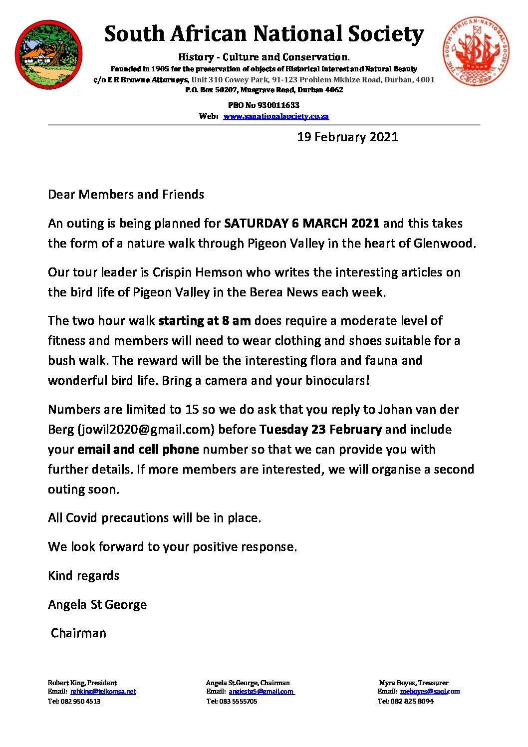 SANS – Visit to Pigeon Valley – Saturday 6 March 2021.